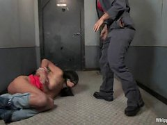Sexy Cassandra Cruz gets tied up and toyed by female janitor