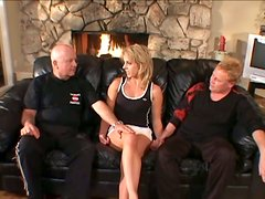 Hot Blonde Housewife Got Hard Fucked By Two Wild Dudes