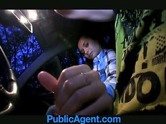 Sex in the car with a slender and horny passanger