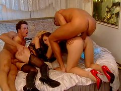 Beautiful and sexy Zora Banx is double penetrated in hardcore foursome fuck scene