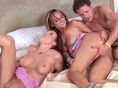 Awesome group sex with two super hot babes