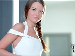 Teen looks perfect in white swimsuit