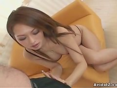 Cute Asian Chick Giving A Handjob And Titjob To A Horny Guy
