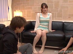 Asian chick gets fucked hardcore by two randy males.