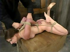 Lena Ramon gets her cunt fingered and toyed in BDSM scene