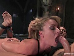 Aline's tits turn red in bondage  and her pussy gets nailed