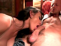Lustful babe rides a cock of her perverted boss