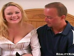 Emily gives a deepthroat blowjob and enjoys multiposition sex