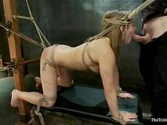 Jessie Cox gets double penetrated with toys and mouth-fucked