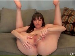 Dana DeArmond ass fucks glass dildo