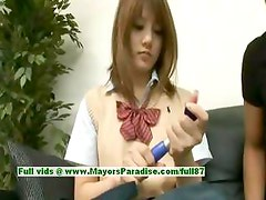 Risa Tsukino innocent asian girl is a cute schoolgirl