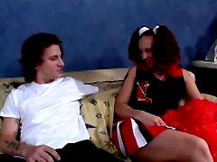 Serena Marcus the sexy cheerleader gets pounded on a sofa