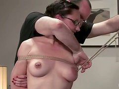 Maggie Mayhem gets her snatch toyed in bondage scene and wants more