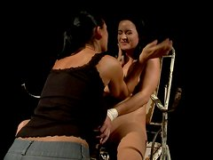 Dark head skank is tied up and throttled in dirty BDSM porn clip