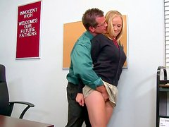 Horny blonde office slut gives blowjob and gets eaten