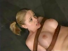Horny and kinky blond siren gets gagged and suspended so high