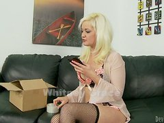 Blonde Bitch in Fishnets is Taking on Huge Toys with her Cunt