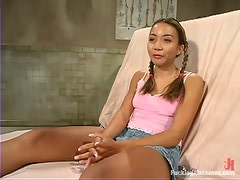 Exotic hottie Keeani Lei gets double penetrated by a sex machine