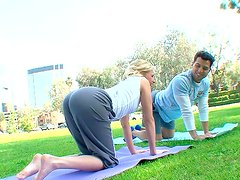 Chubby blonde bitch practices yoga in park with her man