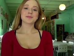 Petite blond siren is dildoing herself with passion