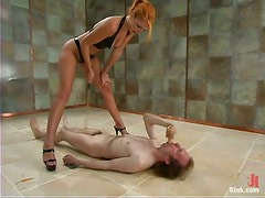John enjoys being whipped by sexy mistress Ivy in a basement