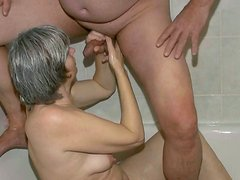 Incredibly spoiled granny gives her lover a nice blowjob