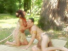 Provocative Amazon chick Janet Joy swallows cock outdoor