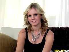Gorgeous blonde gets banged from both sides by two hard dicks.