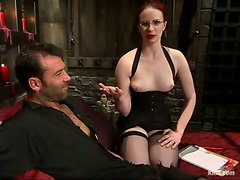 Kinky redhead chick ties a guy up and tortures his balls