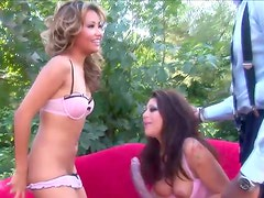 Two hot chicks on high heels get pounded in interracial FFM vid