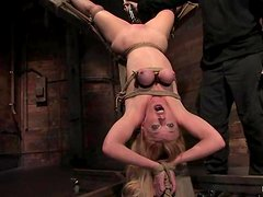 Blonde Darling gets her pussy clothespinned and toyed