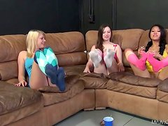 Three beautiful girls prove that they are very experienced in sex