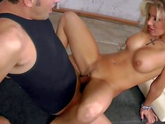 Wild blonde bimbo Aubrey Addams with big firm tits and