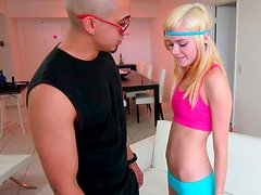 Great slim blonde babe loves to play in a basketball