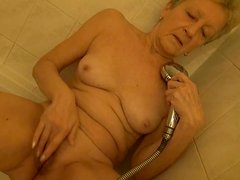 Old granny pleasing herself in the shower all by herself