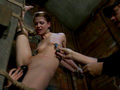 Sensi Pearl Gets Her Legs Spread To the Fullest Vertically in BDSM vid