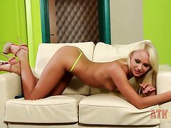 Blonde oriental Ivana Sugar with small tits and