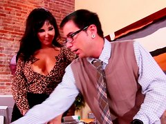 Nerd in glasses gets a blowjob from curvaceous brunette MILF