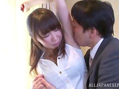 Japanese babe sucks a cock and rides it until cumming.
