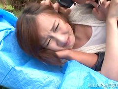 Naughty japanese babe gets face-fucked and brutally rammed outdoors.