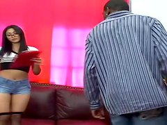 Stunning Mika Tan rides big black cock and gets titty fucked