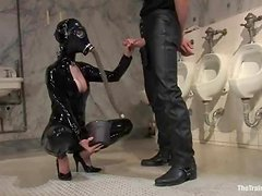 Busty sex slave Cherry Torn is being abused in a weird suit