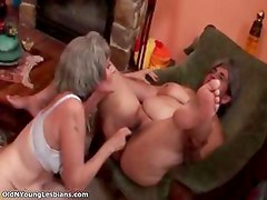 Old and young lesbians go crazy sucking part5