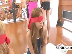 Subtitled blindfolded Japan gyaru blowjob round robin