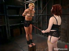 Vendetta gets her wired snatch fucked hard with a strapon