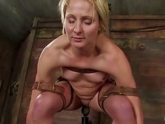 Vendetta gets her vag rubbed with a stick in BDSM clip
