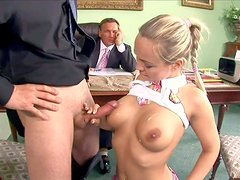 Pretty blonde schoolgirl Mie Leone with awesome body in stockings