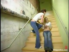 Aggressive Lesbians Get Kinky On The Stairs!