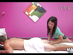 Asian beauty gives guy a massage before he fucks her