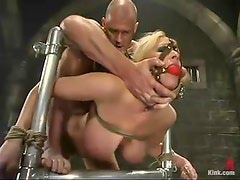 Busty and filthy blond gets hooked and dicked